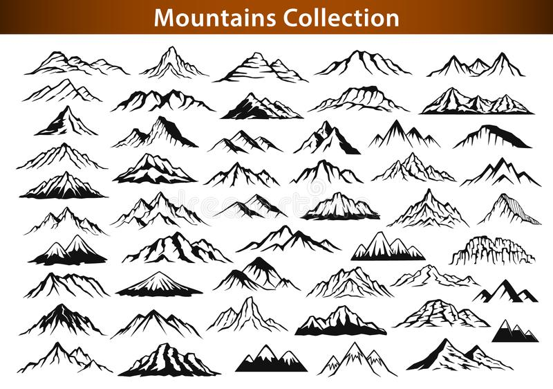 Different mountain ranges silhouette collection stock illustration