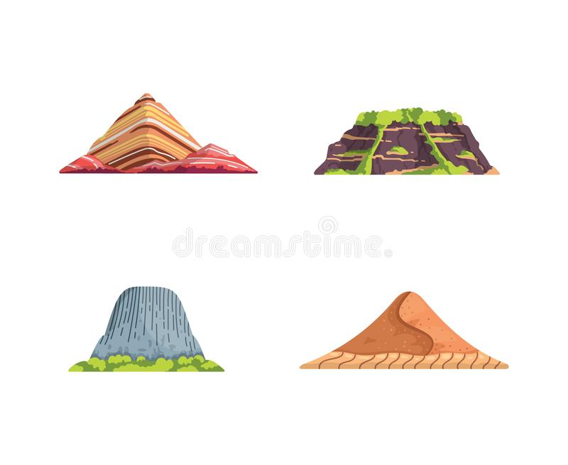 Different mountains landscape isolated vector illustration in cartoon style. Nature mountain silhouette elements se. Travel or hiking mountainous vector illustration