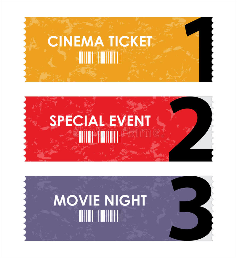Different movie tickets stock illustration