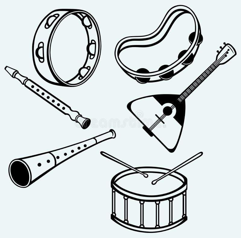 Different music instruments stock illustration