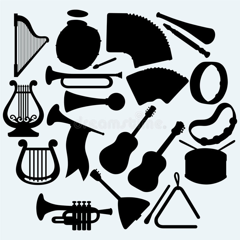 Different music instruments royalty free illustration