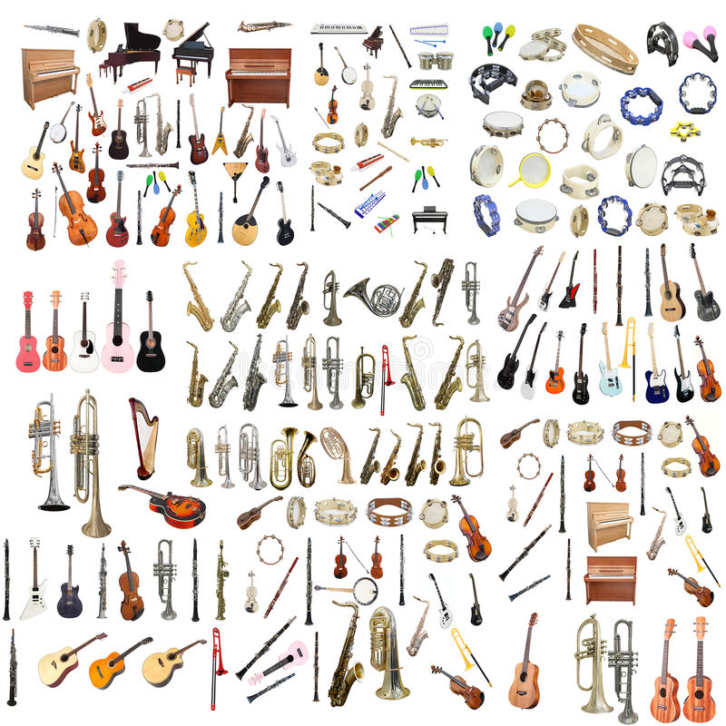 Different music instruments royalty free stock photos