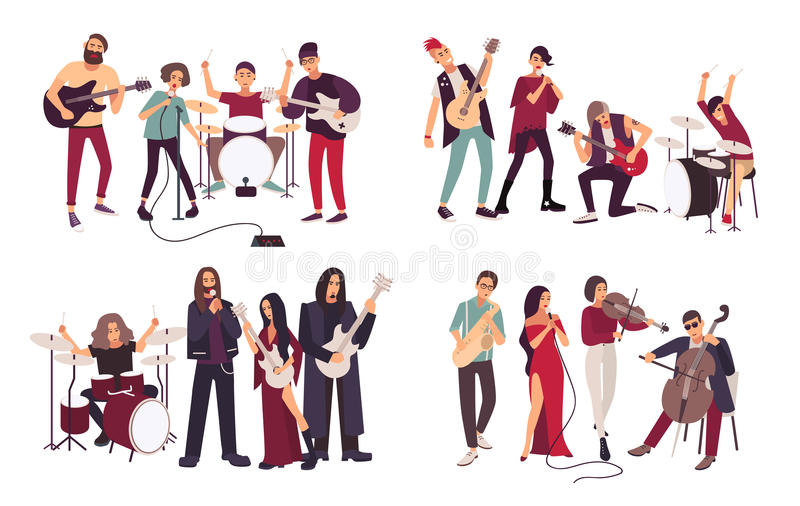 Different musical bands. Indie, metal, punk rock, jazz, cabaret. Young artists, musicians singing and playing music stock illustration