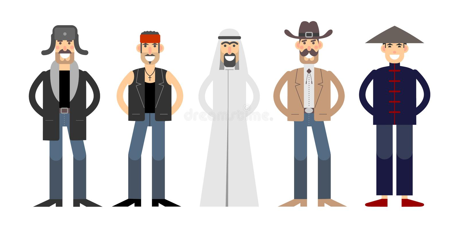 Different nationalities illustration with personages. Different nationalities characters set. Bearded Russian in a hat with ear flaps, Arab in keffiyeh, American royalty free illustration
