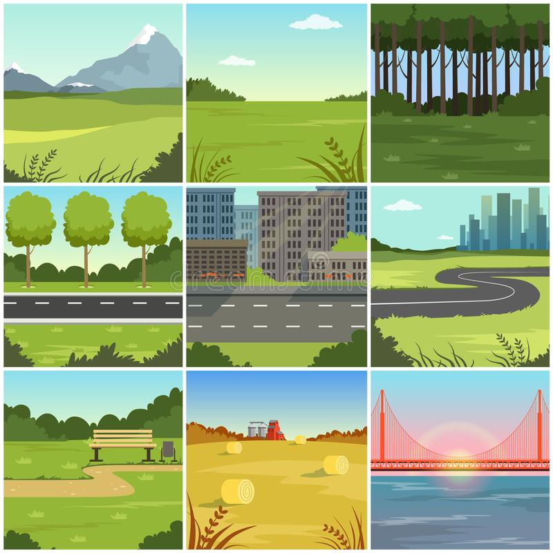 Different natural summer landscapes set, scenes of city, park, field, mountain, road, river and bridge royalty free illustration