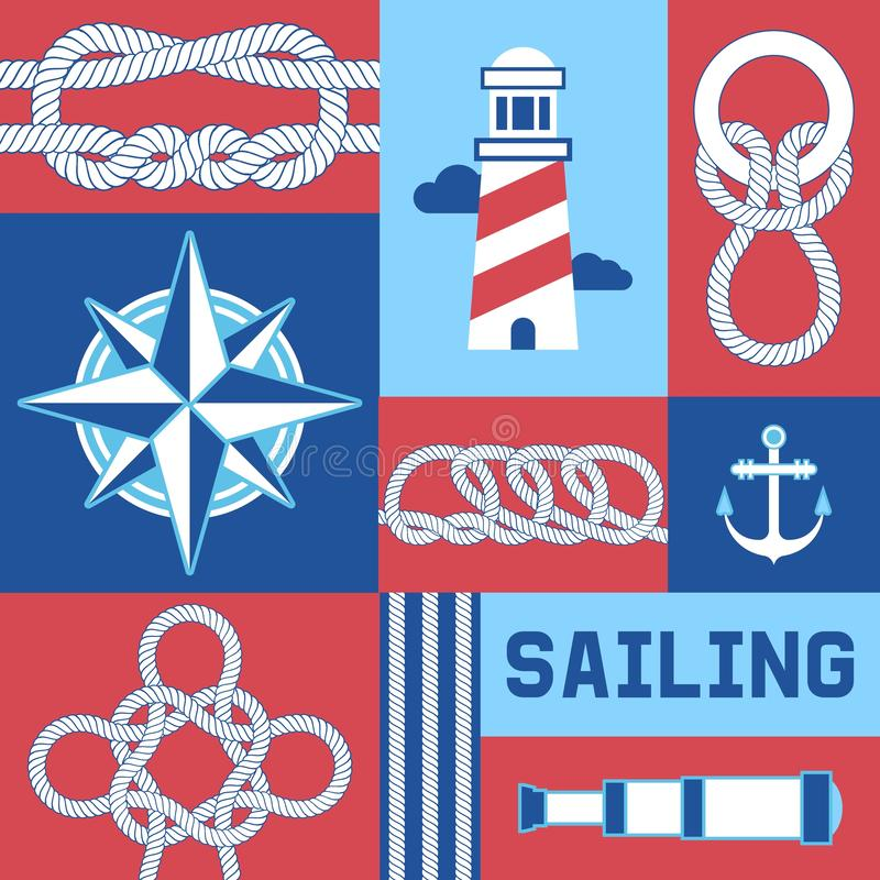 Different nautical sailor knots and ropes compass, anchor, lighthouse vector illustration. String twisted thread cable. Poster. Ship marine lasso flyer. Sailing royalty free illustration