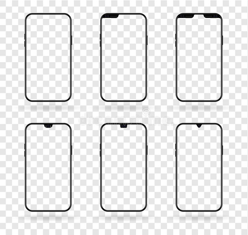Different notch smartphone display mockup set. Vector different notch smartphone display set isolated on transparent. Mobile realistic mockup with front camera vector illustration