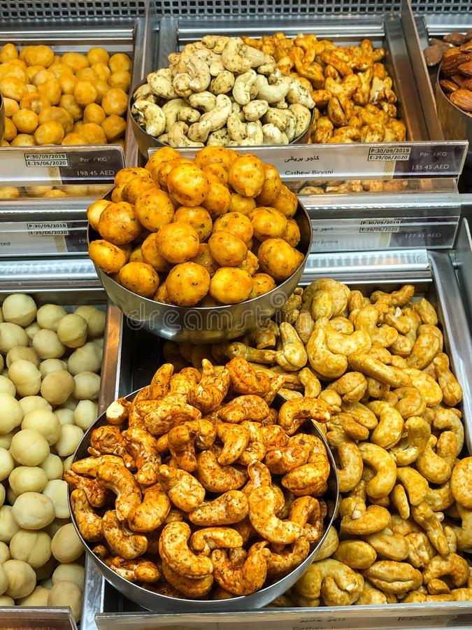Different nuts mixed with different tasty masala royalty free stock photography