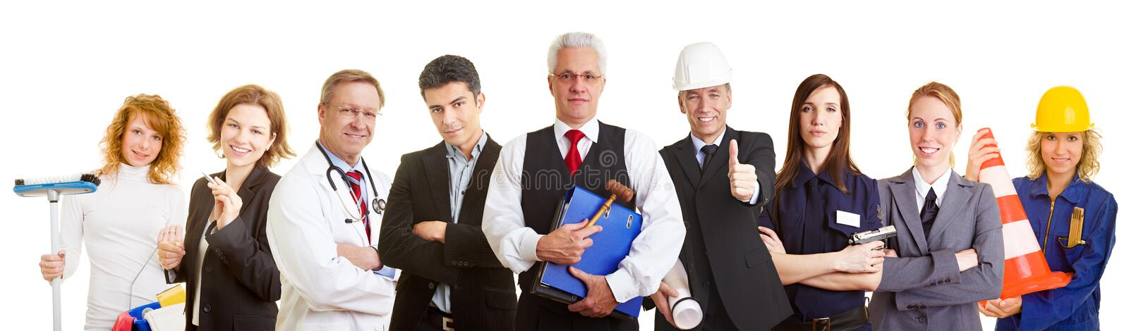 Different occupations as a team. Many different occupations standing as a team group stock images