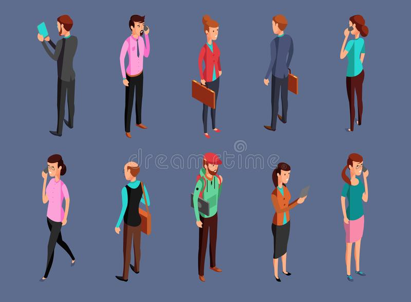 Different office people standing and using gadgets vector illustration
