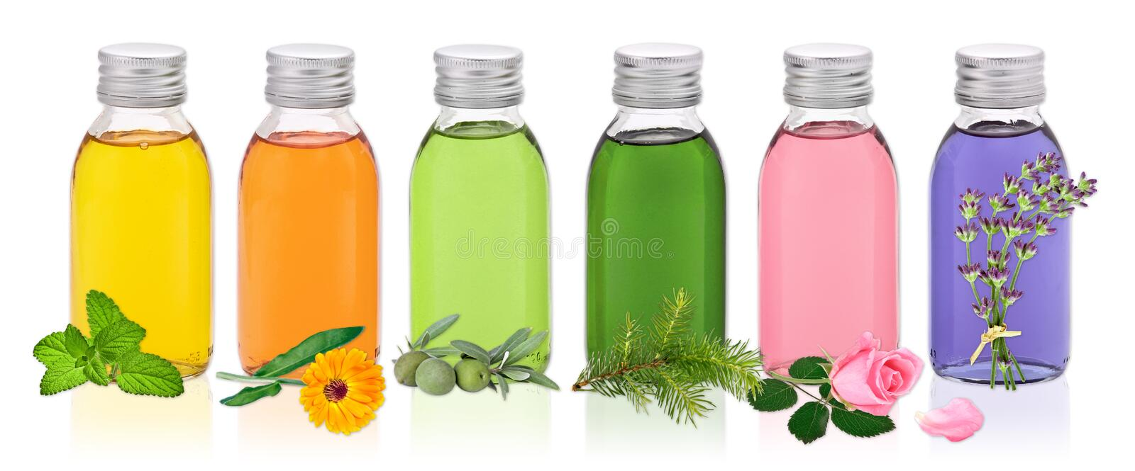 Different oils for wellness royalty free stock photos