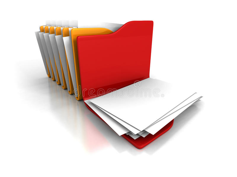 Different Opened Office Document Paper Folder. 3d Render Illustration royalty free stock image