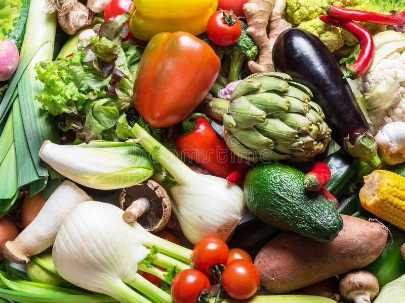 Different organic vegetables. Multicolored food background. stock photo