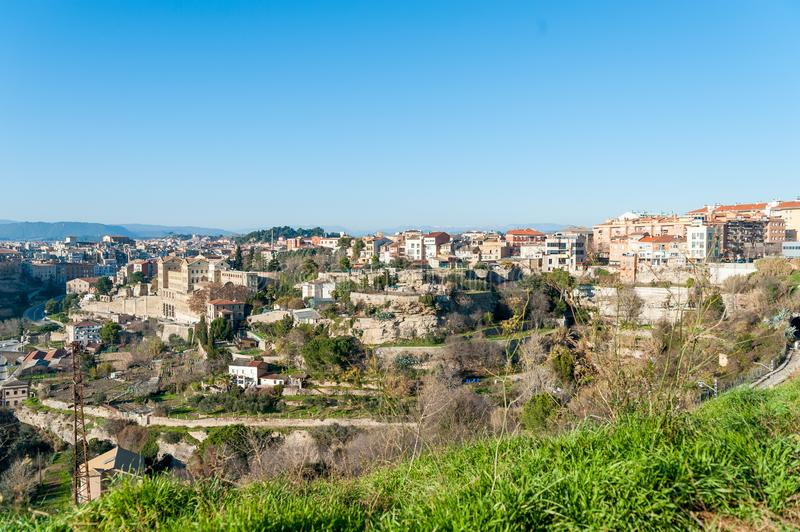 Different and original view of Manresa city in catalunya region in Spain, with landscape of all the city. Landscape of manresa from top of hill royalty free stock photo