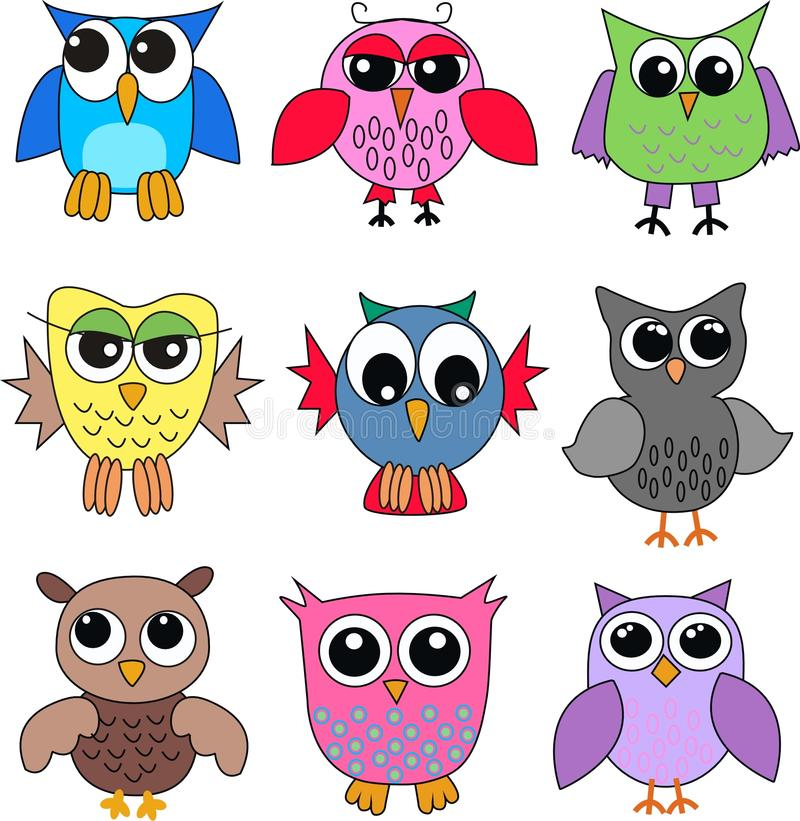 Different owls vector illustration