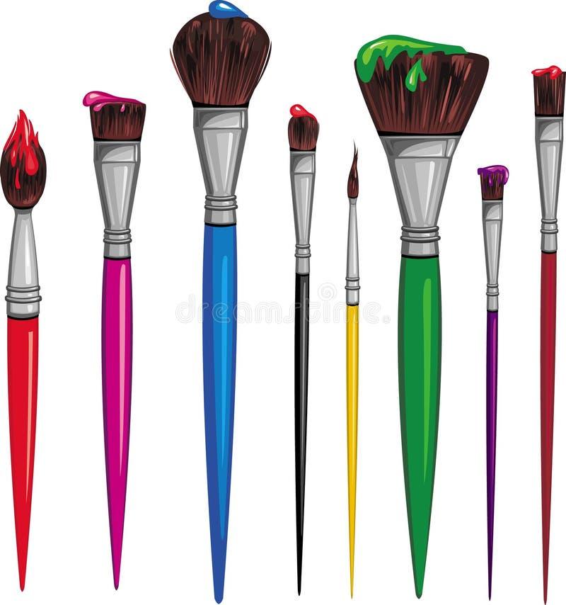 Different paintbrush royalty free illustration