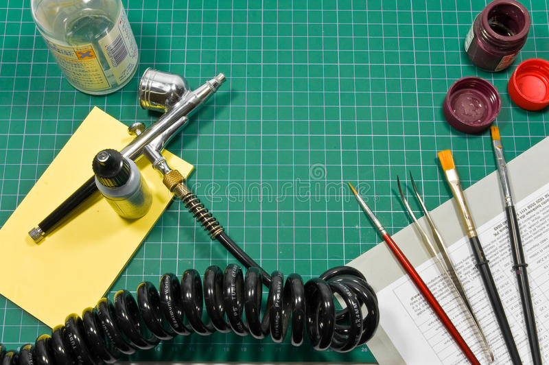 Different painting hobby tools still life. royalty free stock images