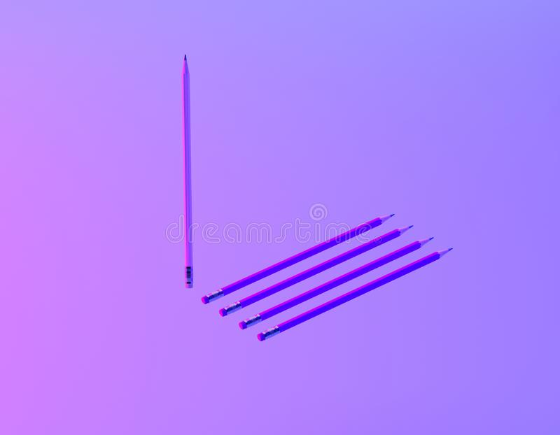 Different pencil in vibrant bold gradient purple and blue holographic colors background. minimal creative concept. The idea about royalty free stock image