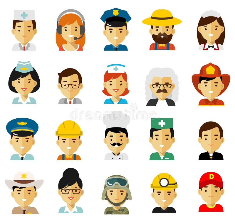 People occupation characters avatars set in flat style isolated on white background. royalty free illustration