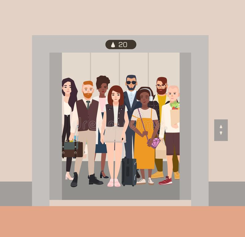 Different people standing in elevator with open doors. Group of various men and women waiting inside lift stopped on stock illustration