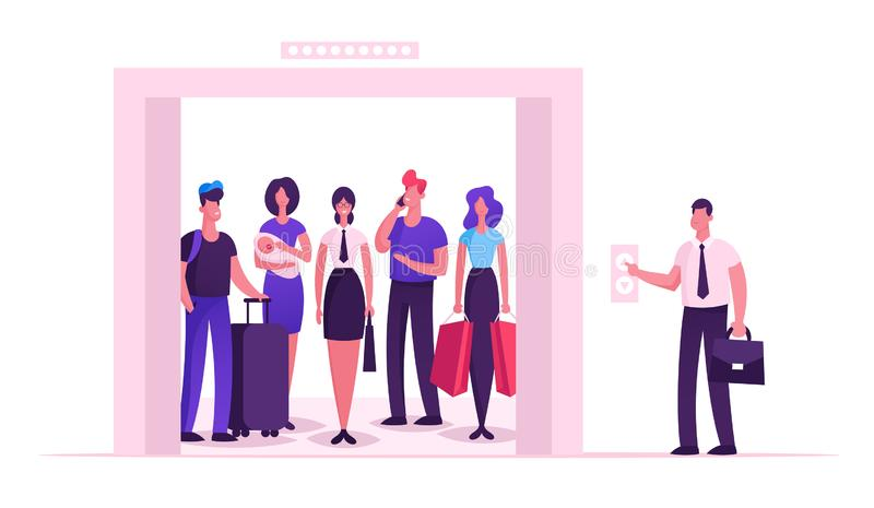 Different People Standing in Elevator with Open Doors. Group of Various Men and Women Waiting Inside Lift royalty free illustration