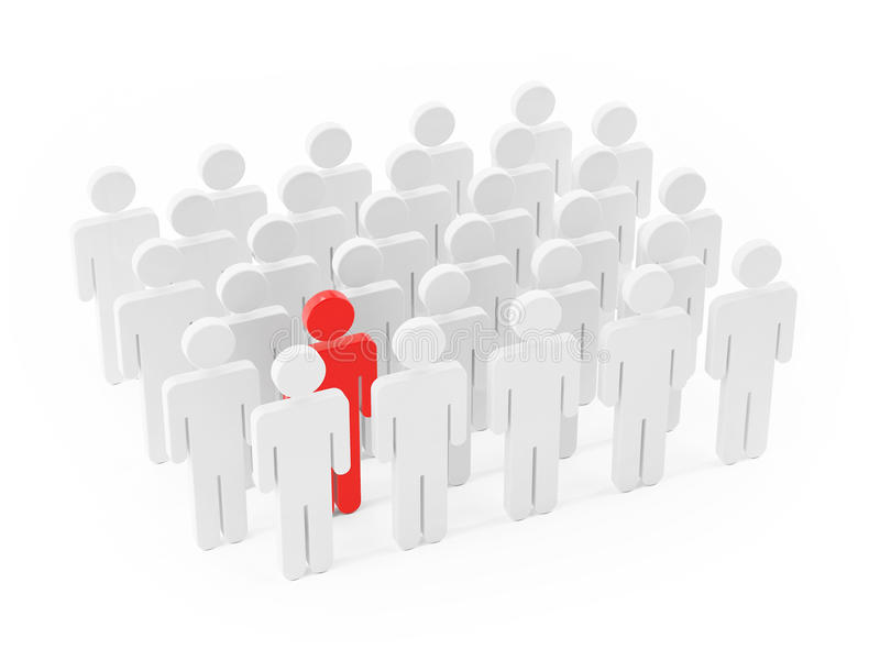 Different people, standing out of the crowd on white background. 3d illustration royalty free illustration