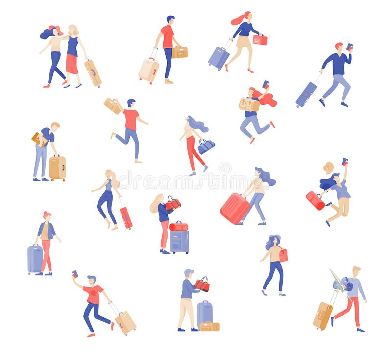 Different people travel on vacation. Tourists with laggage travelling with family, friends and alone, go on journey stock illustration