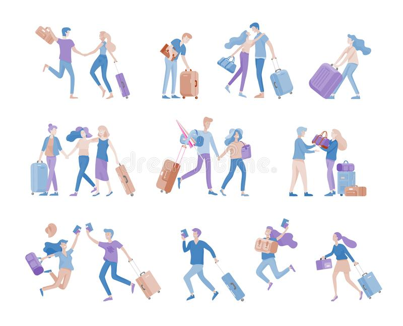 Different people travel on vacation. Tourists with laggage travelling with family, friends and alone, go on journey royalty free illustration