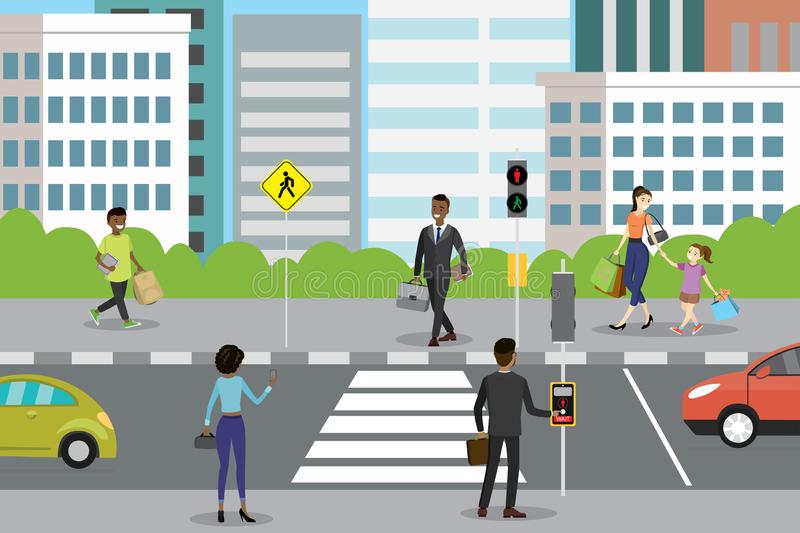 Different people walk and stand,cars on road. City street with pedestrian crossing and traffic lights,different people walk and stand,cars on road,flat vector stock illustration