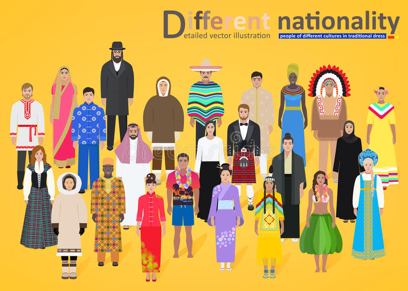 Different peoples of the world on a yellow background, vector vector illustration