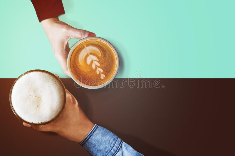 Different Personalities Taste in Beverage of People Concept, Difference Diverse Character of Human Concept, Present by Hand of Ma royalty free stock image