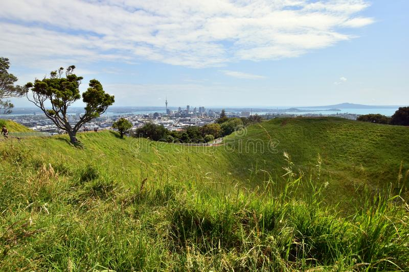 A different perspective at Auckland city centre from volcano Mt Eden stock photography