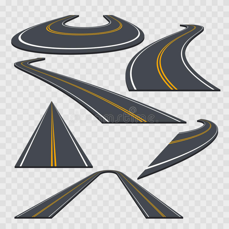 Different Perspective Curved Road Set. Vector royalty free illustration