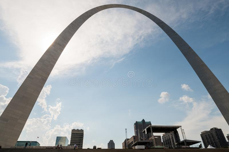 A different perspective of the gate way arch in st louis misouri. A view of the Gateway arch in ST. Louis Misouri. The arch was designed to represent the royalty free stock photography