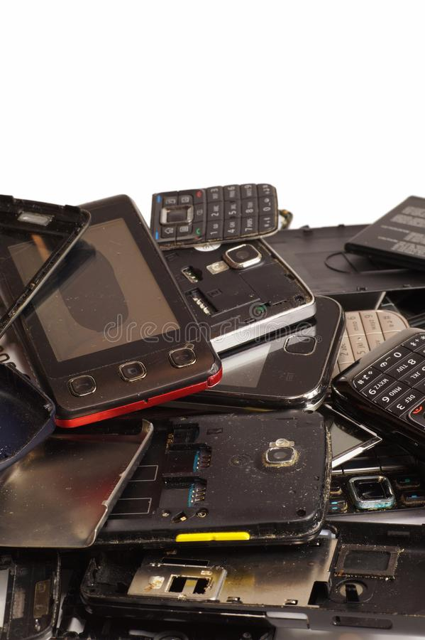 Different phones and smartphones not suitable for repair. Electronic scrap royalty free stock image