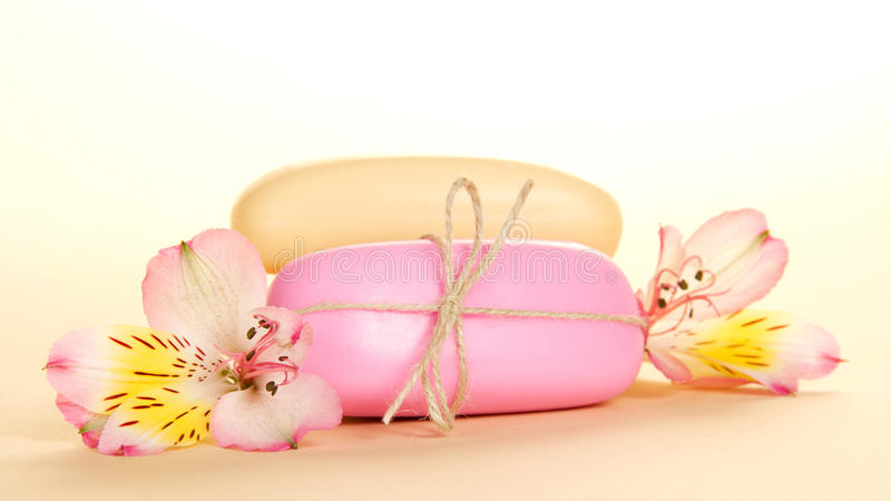 Download Different Pieces Of Soap And  Flower Stock Photo - Image: 41959356