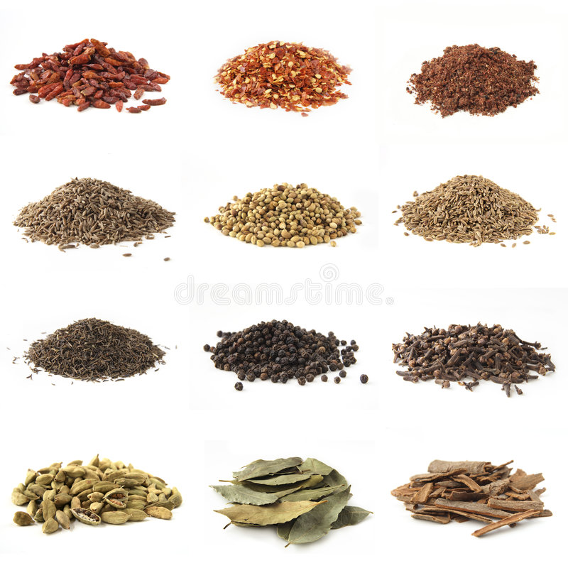 Free Different Pile Spices Isolated Stock Image - 2246541