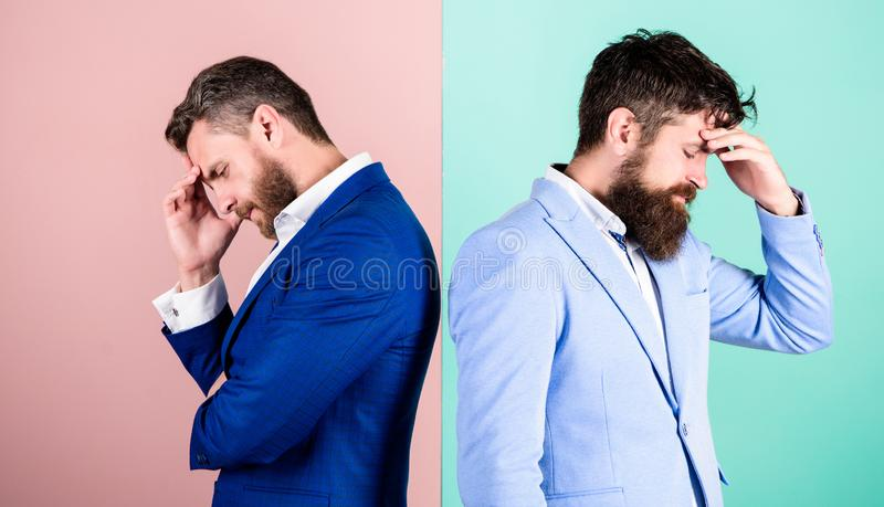 Different point of view. Opinion difference. Businessmen thoughtful face thinking about business problem. Business in. Trouble concept. Business stock image