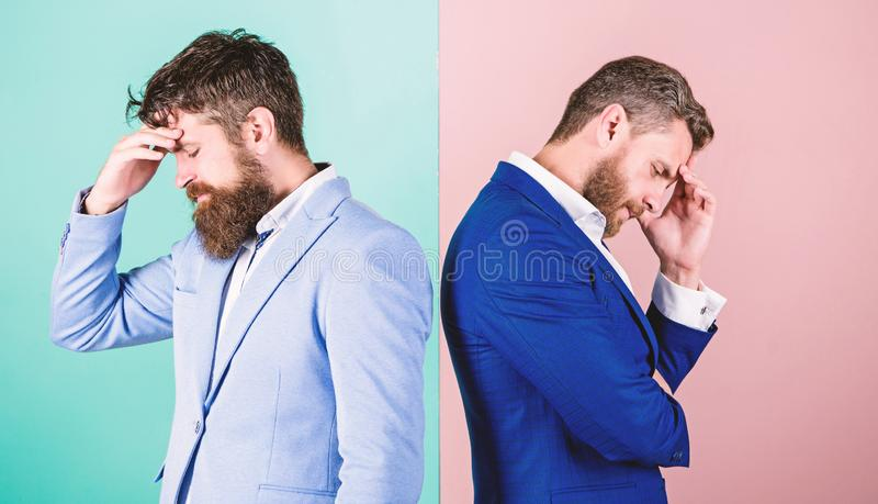 Different point of view. Opinion difference. Businessmen thoughtful face thinking about business problem. Business in. Trouble concept. Business royalty free stock photo