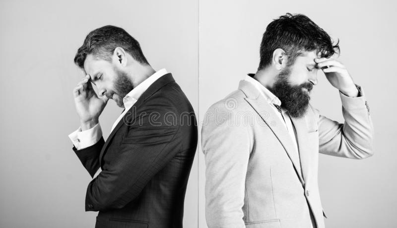 Different point of view. Opinion difference. Businessmen thoughtful face thinking about business problem. Business in. Trouble concept. Business stock photo