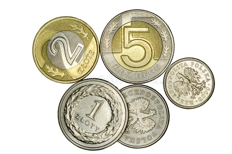 Different Polish zloty coins stock photography