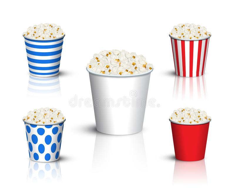 Different popcorn buckets mockup. Vector popcorn box set. royalty free illustration