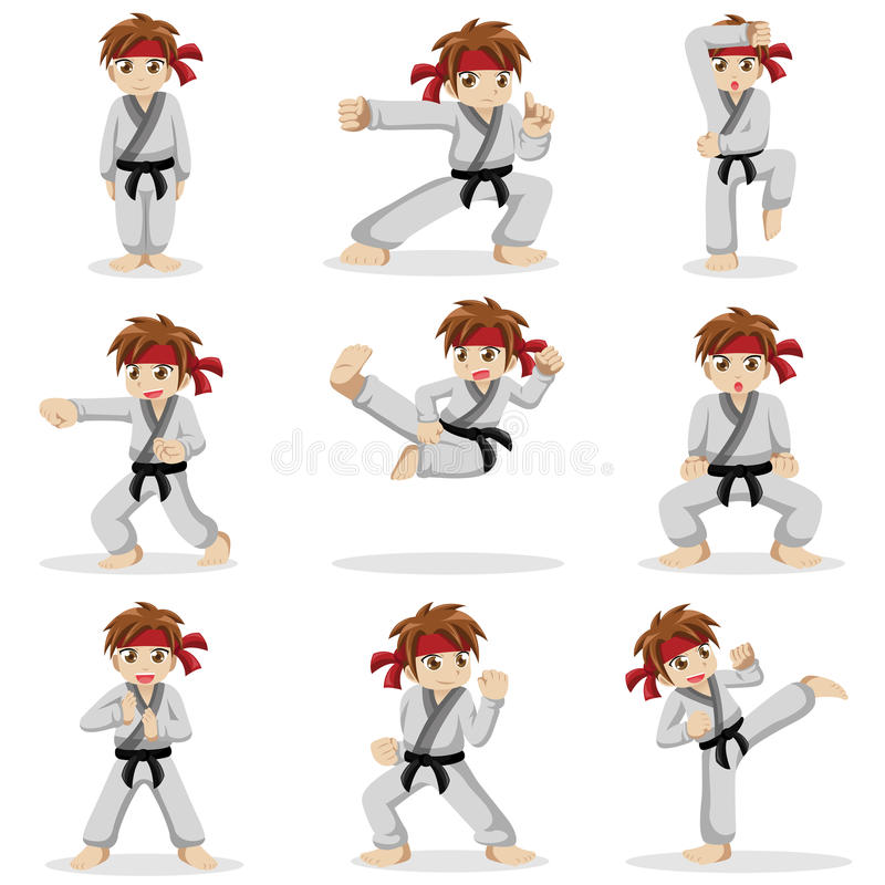 Different poses of karate kid stock illustration