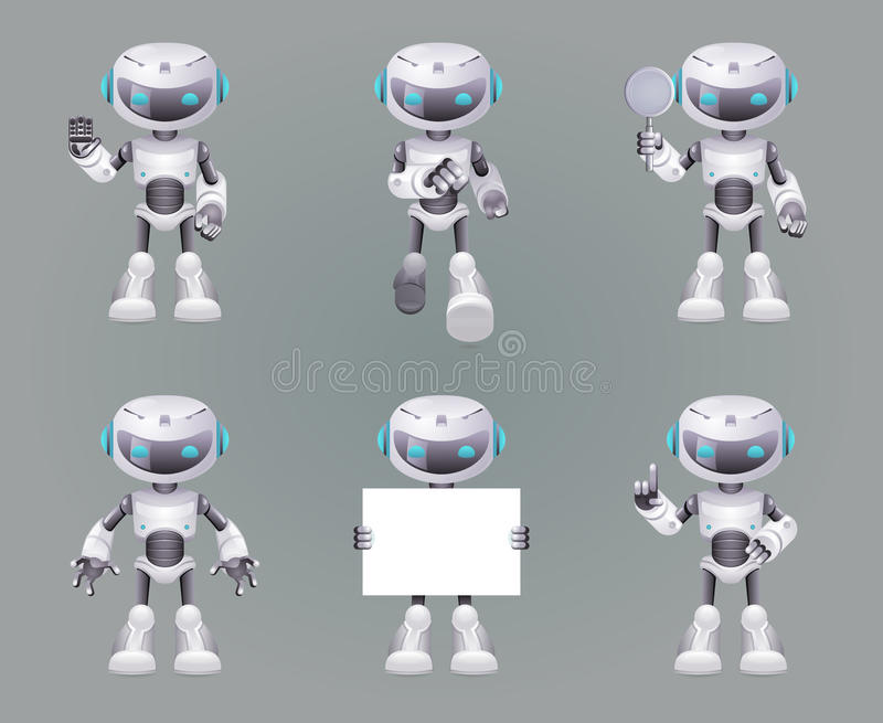 Different Poses Robot innovation technology science fiction future cute little 3d Icons set design vector illustration vector illustration