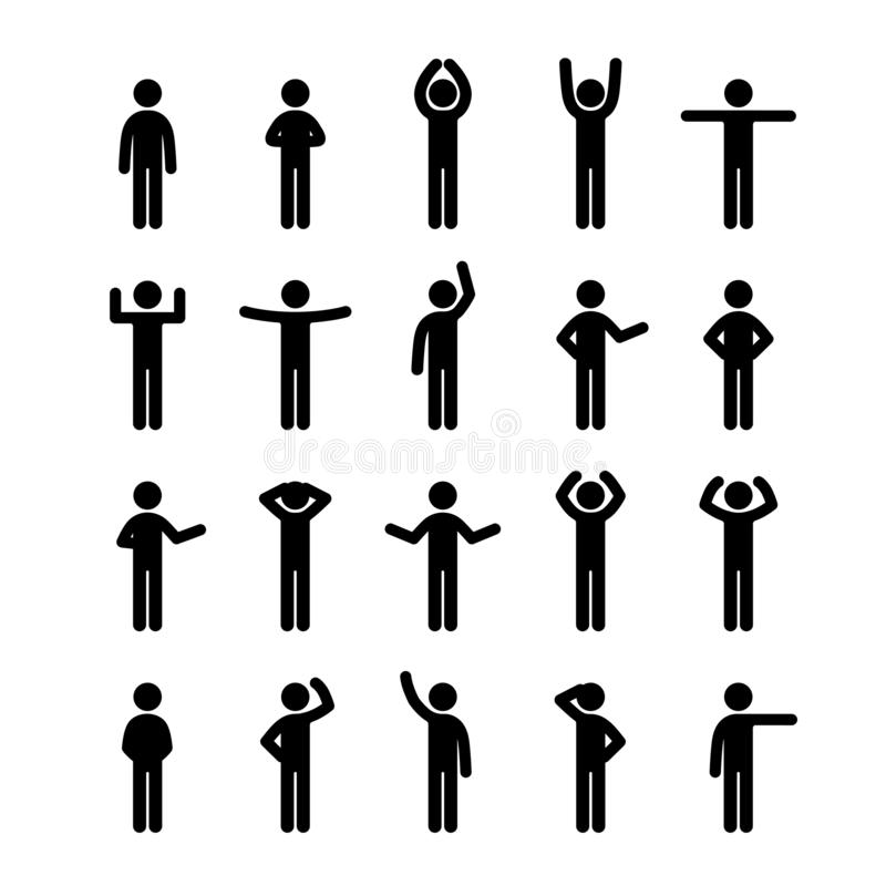 Different poses stick figure people pictogram icon set. Human symbol sign. royalty free illustration