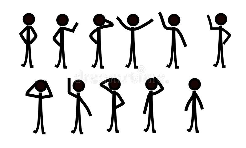 Sticks figure people pictograph, different poses vector illustration