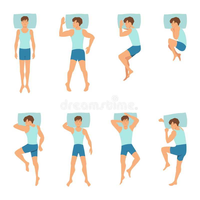 Different positions of sleeping man. Top view vector illustrations stock illustration