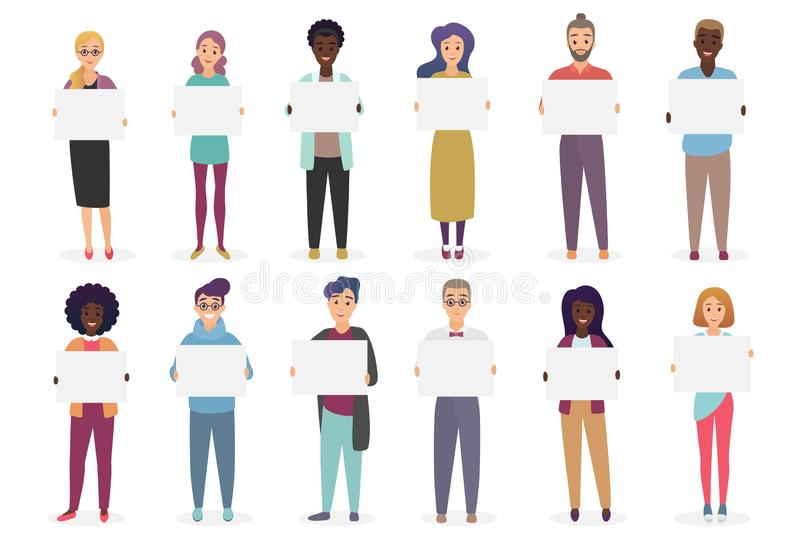Different positive smiling people are holding placards for text. A sheet of paper in the hands of man and woman set vector illustration