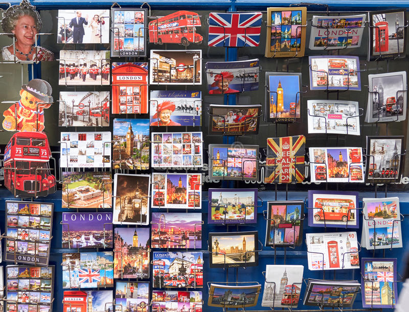 Different post cards of London and England. LONDON, ENGLAND - MAY 13, 2017 : Different post cards of London and England royalty free stock photography