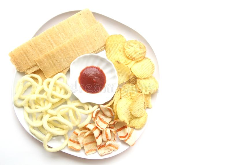 Different potatoes chips stock photos